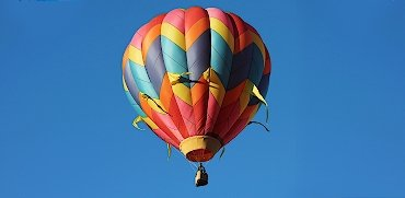 Colorful hot air flying balloon